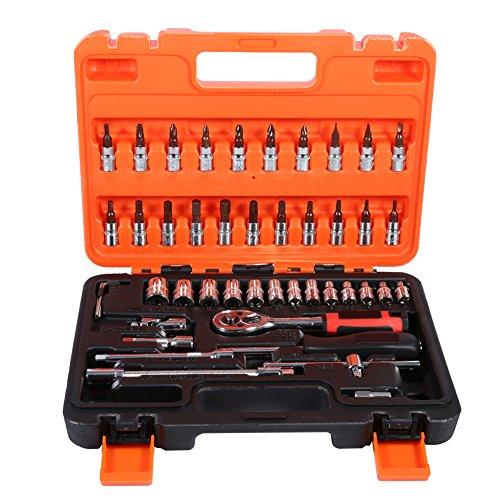 Preisvergleich Produktbild Steckschlüssel satz 1 / 4Auto Wartung Werkzeug Steckschlüsselsatz Hohe Qualität Auto Repair Tool Buchse Kombination 1 / 4 zoll Ratsche 46 Stück Set