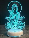 MOQJ Nachtlicht Porzellan Weiß Basis Buddha Bild 3D Licht Bunte Touch LED Lampe Acryl Kreative Lasergravur Augen Persönlichkeit Touch Sensing