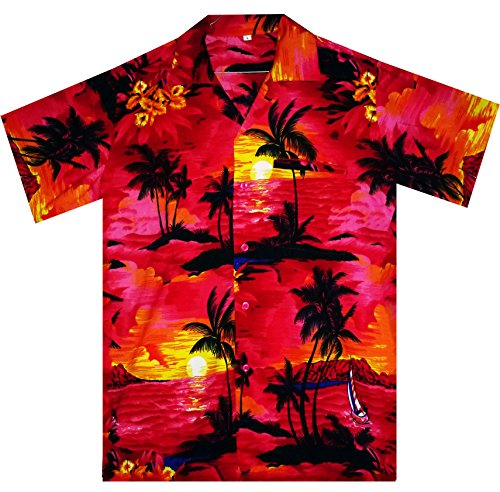 V.H.O. Funky Hawaiihemd, Kurzarm, Surf, pink, S