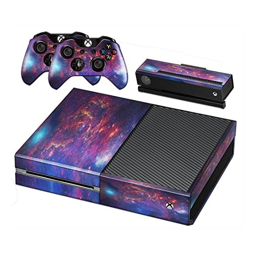 Xbox One Protective Vinly Skin Sticker Consola Decal Pegatinas + 2 Controlador & Kinect Skins Set (Purple Galaxia)