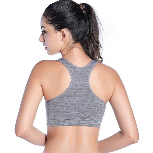 amaz Mall Confort Femme tenue extra-forte sans sangle Yoga de gel B ¨ ¹ Push Up Soutien-gorge de sport gris