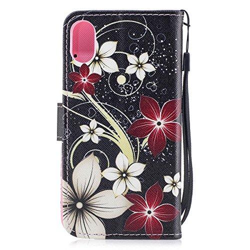 inShang Custodia per iPhone X 5.8 inch con design integrato Portafoglio, iPhoneX 5.8inch case cover con funzione di supporto. red flower