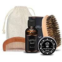 Breett Bartpflegeset maenner geschenk, Bartöl(30mL), Bartwachs(60g), Bartkamm(Holzkamm) und Bartbürste (4-teilig)