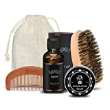 Olio da Barba kit 4 pz Breett Olio Cura Barba (vitamin E oil, aloe oil)barba Oil 30 ml, crema di barba 30 gg, pettine di barba e spazzola di barba, facile da curare della barba, Regalo ideale