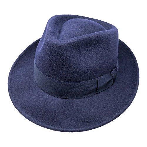 B&S Premium Doyle - Chapeau Fedora - 100 % feutre de laine - Pliable pour partir en voyage - Résistant à l'eau - Bleu foncé 56cm