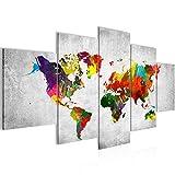 Bilder Weltkarte World Map Wandbild 200 x 100 cm Vlies - Leinwand Bild XXL Format Wandbilder Wohnzimmer Wohnung Deko Kunstdrucke Grau 5 Teilig -100% MADE IN GERMANY - Fertig zum Aufhängen 105151c