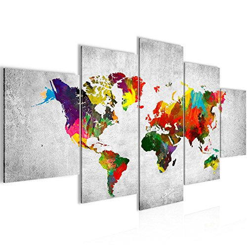 Tableau decoration murale Carte du monde 200 x 100 cm XXL Impression sur Toile Salon Appartment Blanc 5 Parties - prêt à accrocher 105151c