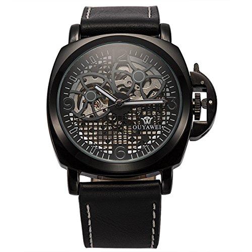 ManChDa® Mens Automatische Mechanische Schwarzes Leder Uhr Perspektive Raster Zifferblatt + Geschenk-Box