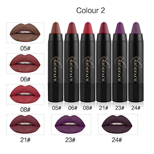 Rechoo 6 unids / set lápiz labial resistente al agua de larga duración rojo terciopelo mate kit de labios Nude labios de belleza maquillaje Lipgloss Set 2