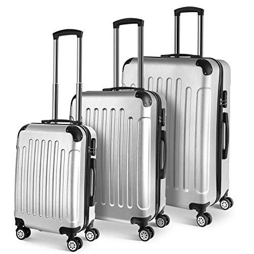 PRASACCO Reisekoffer Handgepäck Set 3 TLG.Für Flug Hartschalen Koffer Trolley Ultraleicht ABS Anti-Kratzer Erweiterbar 4 Rollen (Silber)