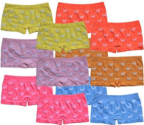 BestSale247 6 | 12 Stück Mädchen Pantys Hipster Shorts Girls Kinder Unterhosen Kids Unterwäsche Mikrofaser 92 bis 158 (128-140, 12 Stück Schmetterling-Motiv)