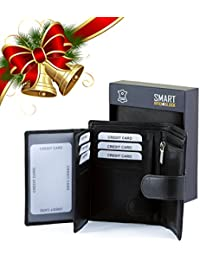 Porte-monnaie RFID - Protection pour carte sans contact - Noir Picasso en cuir véritable POCHETTE RFID SMART - TUV TESTÉE ET CERTIFIÉE par KORUMA (SM-904PBL)