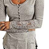 West See Damen Langarm Spitze Baumwolle Casual Shirt Bluse Spitzebluse Top (M, Grau)
