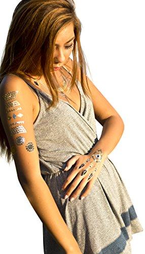 Tattoo Gold Silver Black Metallic Temporary Animal Jewelry Tattoo (One Sheet).
