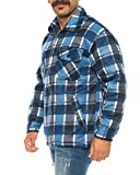 Herren Holzfällerhemd Kariert Thermohemd Gefüttert Sweatshirt Jacke Flanell (Blau, XL)
