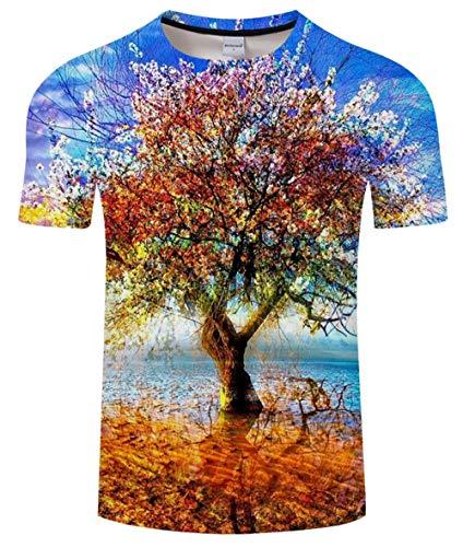 lienhao T-Shirt Baum männlich T-Shirt 3D T-Shirt Mode Shirt Harajuku T-Shirt Rundhals T-Shirt lässig Kurzarm Unisex 6XL Gondeln @ XXL_Lucky