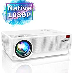 Vidéoprojecteur, WiMiUS 6500 Lumens Vidéo Projecteur Full HD 1920x1080P Rétroprojecteur Supporte 4K Contraste 8000:1 Réglage 4D Projecteur LED 90,000 Heures Home Cinéma PS4 HDMI/VGA/AV/USB