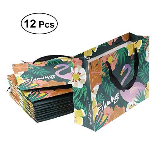 OULII Hawaii Luau Flamingo Partei Liefert Taschen Party Favor Taschen mit Griff für Party Geburtstag Graduierung Hochzeit Einkaufen 12 Pack (klein)