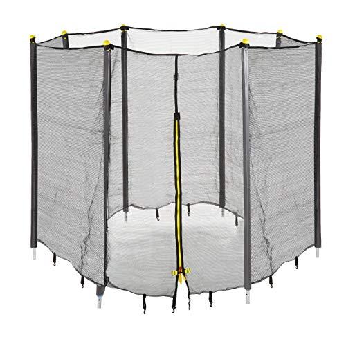 Relaxdays Unisex Jugend Trampolin Netz, Fangnetz für Gartentrampolin, mit 8 gepolsterten Stangen, Sicherheitsnetz, Ø 427 cm, schwarz