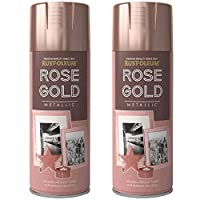 2 x Rust-Oleum 400ml Metallic Finish Spray Paint Rose Gold