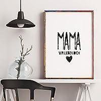 Poster: Geschenk für Mama - Mama wir lieben Dich, perfekt zum Muttertag oder Mama´s Geburtstag, schwarz weiß