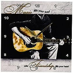 3dRose dpp_40705_1 Music Fills Your Soul Guitar Musician Wall Clock, 10 by 10-Inch