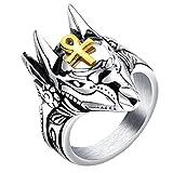 HIJONES Antiguo Egipto Dios Anubis Oro Ankh Cruz Amuleto Anillo para Hombre de Acero Inoxidable Talla 19