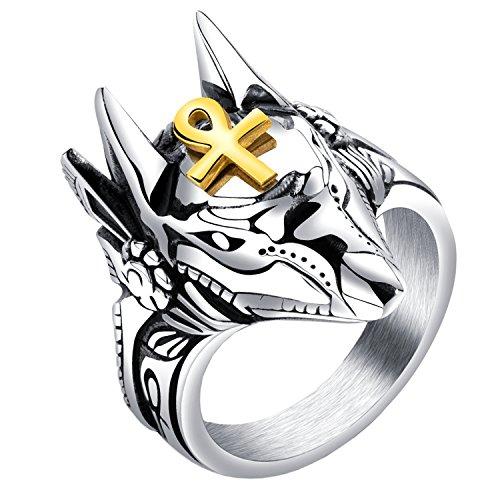 HIJONES Herren Anubis Ankh Kreuz Wächter Ring aus Edelstahl des Alten Ägyptens Größe 65