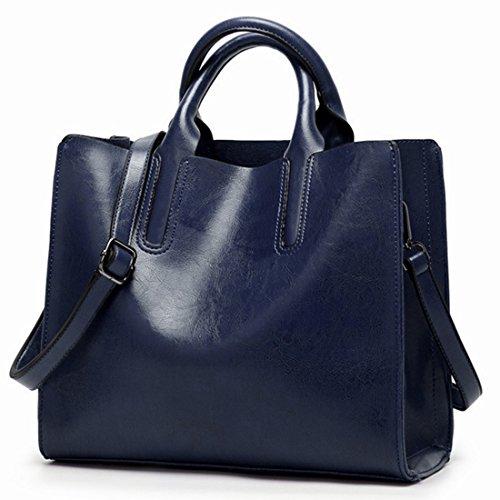 Hemotrade Damen Eimer Tote Bag Casual Schultertasche Damen Arbeitstasche Umhängetasche Einkaufstasche Messenger Bag blau -
