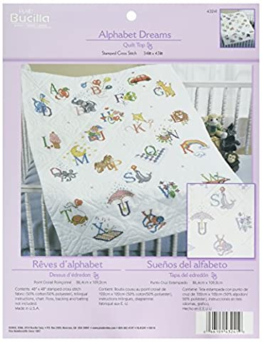 Bucilla Cotton/Polyester blend Stamped Cross Stitch Baby Quilt Top 34 x 43 inches-Alphabet Dreams