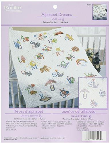 Baumwolle/Polyester Prägung Kreuzstich Baby Quilt Top 34x 43inches-Alphabet Dreams ()