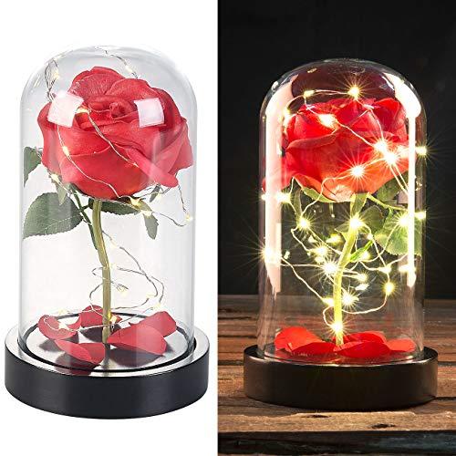 Lunartec Rose im Glas: Edle Kunst-Rose mit LED-Beleuchtung in Echtglas-Kuppel, rot (Kunstrose)