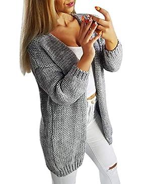 ZODOF Mujeres Floja Ocasional Suéter Pullover Suéter de Punto Moda Mujer Manga Larga sólido Cardigan Tops suéter...