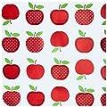 Wachstuch Tischdecke Gartentischdecke mit Fleecerücken Gartentischdecke, Pflegeleicht Schmutzabweisend Abwaschbar Äpfel Rot Weiss - Größe wählbar von Moderno - Gartenmöbel von Du und Dein Garten