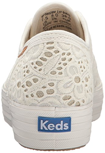 Keds TPL Embroidered Crochet Cream, Sneaker Donna Bianco (Off White)
