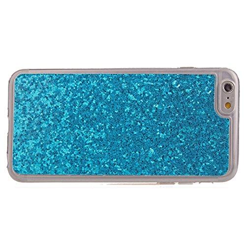 iPhone 6S Tpu Handyhülle,iPhone 6 Silikon hülle,JAWSEU Kreative Gradient Color 360°Schutz Durchsichtig Weich Gel Ultradünn Case Etui Transparent Clear Slim Fit Flexibel Rubber Fall Tasche Schutzhülle  Blau Glitzer