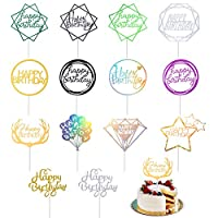 56 Pcs Happy Birthday Cake Topper Birthday Cake Decorations 14 Color Cupcake Toppers Picks for Happy Birthday Decoration