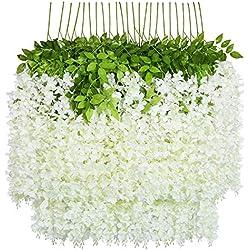 U'Artlines Lot de 24 Artificielle Fleurs Faux Wisteria Vigne Soie Fleur Suspendue Guirlande pour la Maison Jardin Partie De Mariage Décor Simulation Fleur (Lot de 24, 110cm, Blanc)