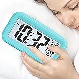 LONZOTH Smart Digital-Wecker, Snooze 5 Minuten, Bald aufhören Alarmknöpfe, mit Datum, Temperatur- Für Kinder Studierende und Erwachsene(Blue)