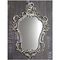 Espejo De Pared Blanco-plata Antiguo Barroca Retro 50x76 Shabby Prunk Vintage Muebles Antiguos Y Decoración Espejos