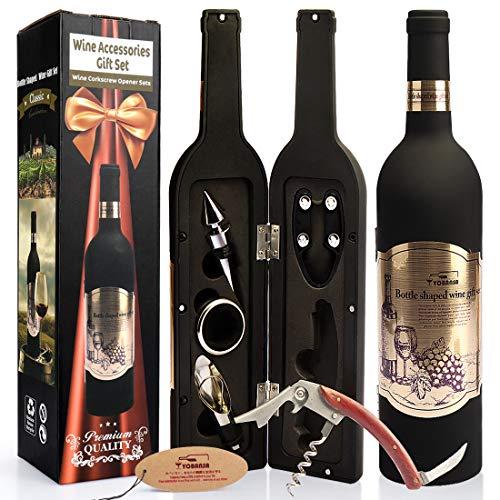 YOBANSA Weinflasche Geformt Weinzubehör-Geschenkset, Weinöffner-Set - Beinhaltet Weinkorkenzieher, Weinverschlüsse, Weinausgießer