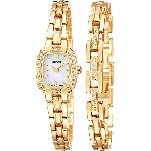 Pulsar PEGG42X2 Ladies' Gold Plated Crystal Encrusted Watch (Gold Plated Watch)
