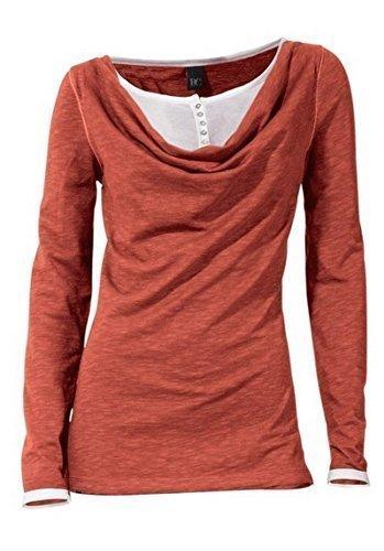 Shirt Wasserfallshirt Damen von Best Connections - Terracotta Gr. 34