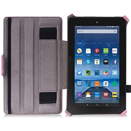 MoKo Housse Fire 7 2015 - Etui Fin avec Support Multi-Angles pour Tablette Amazon Fire 7 Pouces (5ème Génération,Modèle 2015) Seulement, Carbon Fiber BLEU CLAIR BB-Rose