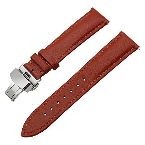 TRUMiRR 22mm Schnellspanner echtes Leder Uhrenarmband Schmetterling Gürtelschnalle kompatibel für Samsung Gear S3 Classic Frontier, Galaxy Watch 46mm, Huawei GT