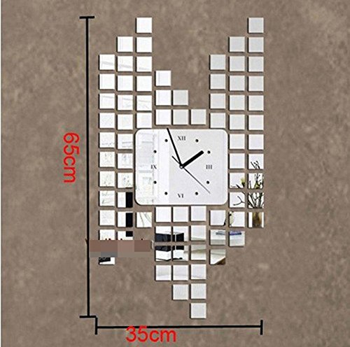 DCY Mirror clock fashion personalized three - dimensional wall mosaic wall clock