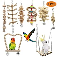 Bebester Bird Parrot Toys, 8PCS Bird Swing Hanging Toy Bird Cage Toys for Small Parakeets, Cockatiels, Conures, Finches, Budgie, Macaws, Love Birds