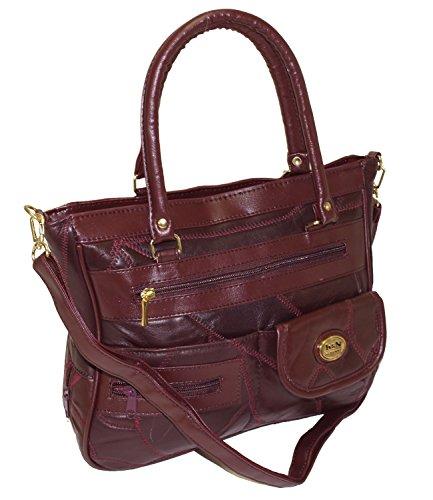 Damen Patchwork Handtasche Vintage Tasche mit zusätzlichem verlängerbaren Henkel Henkeltasche Shopper Schultertasche Umhängetasche Bordeaux DH0005 (Bordeaux) (Tasche Patchwork Braun)