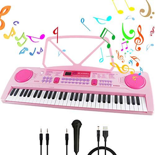 RenFox Klaviertastatur 61 Leuchttasten Elektronische Klaviertastatur Einsteiger Tragbarer Elektronischer Tastatur mit Ständer & Mikrofon
