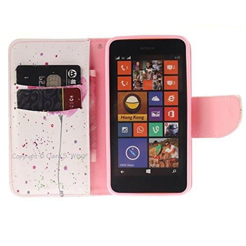 Nokia Lumia N630 Hülle,MCHSHOP PU Leder Cover Tasche Soft Case Schutz Hülle Handyhülle Bunt Painted Silikon Back Cover Bumper Schutz Hard Etui Schale Schutzhüllen mit Stand Magnetverschluss Credit Car Schön violette Blume